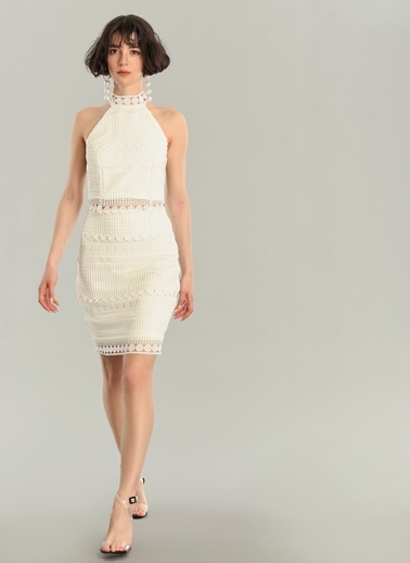 Agenda Dantel Elbise Beyaz